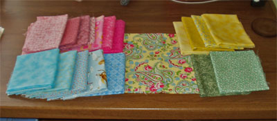 palette of fabrics for future wall hanging